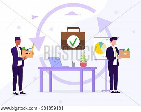 Employee Replacement Due To Transfer Or Retirement Or Hiring And Firing Concept With Businessmen Arr