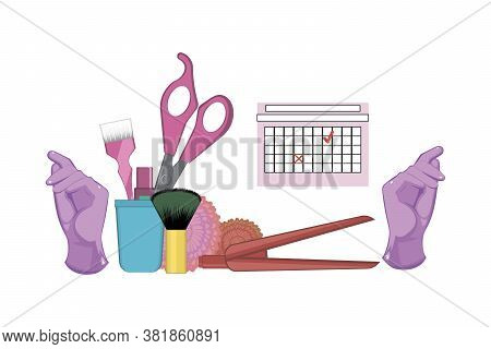 Set Of Hairdressing Tools On White Background. Kit Of Gloves, Dye Brush, Scissors And Lipstick In Th