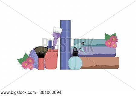 Set Of Hairdressing Tools On White Background. Kit Of Bottle Spray , Towels, Dye Brush And Lipstick