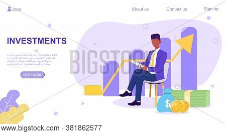 Web Page Investments Template With Successful Broker Or Businessman In Front Of Ascending Bar And Ar
