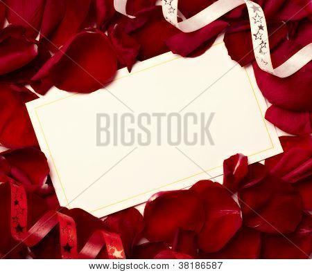 Greeting Card Note Rose Petals Celebration Christmas Love