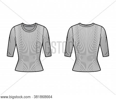 Ribbed Crew Neck Knit Sweater Technical Fashion Illustration With Short Rib Sleeves, Tunic Length. F