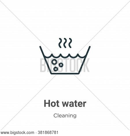 Hot water icon isolated on white background from cleaning collection. Hot water icon trendy and mode