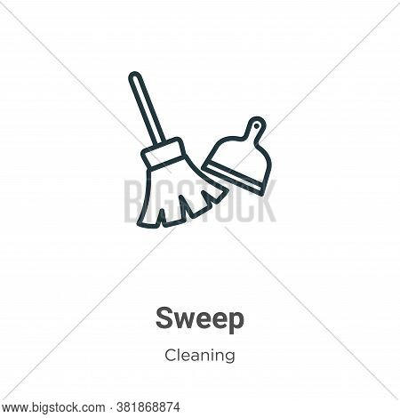 Sweep icon isolated on white background from cleaning collection. Sweep icon trendy and modern Sweep