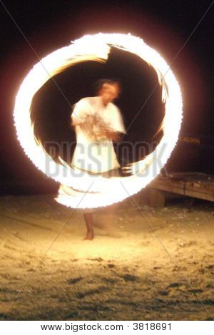 Fire Poi Dancing On Perhentian Islands, Malaysia, Southeast Asia