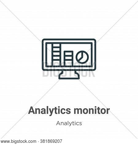 Analytics monitor icon isolated on white background from analytics collection. Analytics monitor ico
