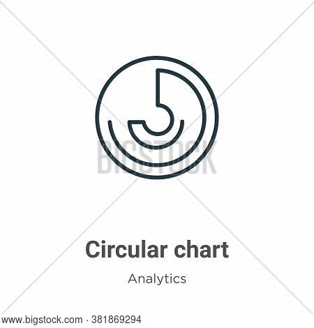 Circular chart icon isolated on white background from analytics collection. Circular chart icon tren