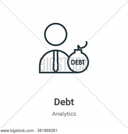 Debt icon isolated on white background from business collection. Debt icon trendy and modern Debt sy