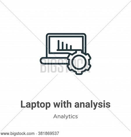 Laptop with analysis icon isolated on white background from analytics collection. Laptop with analys
