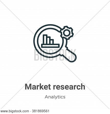 Market research icon isolated on white background from analytics collection. Market research icon tr