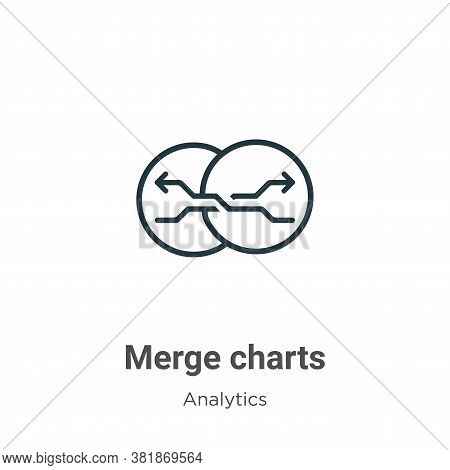 Merge charts icon isolated on white background from analytics collection. Merge charts icon trendy a
