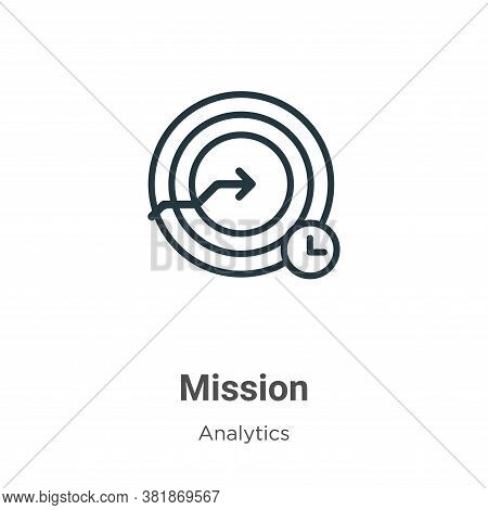 Mission icon isolated on white background from business collection. Mission icon trendy and modern M