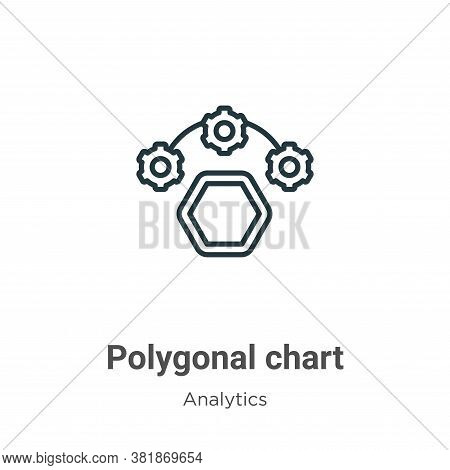 Polygonal chart icon isolated on white background from analytics collection. Polygonal chart icon tr