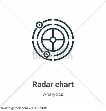 Radar chart icon isolated on white background from analytics collection. Radar chart icon trendy and
