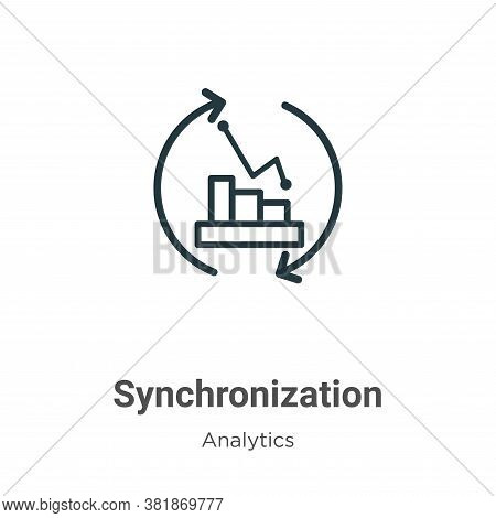 Synchronization icon isolated on white background from analytics collection. Synchronization icon tr