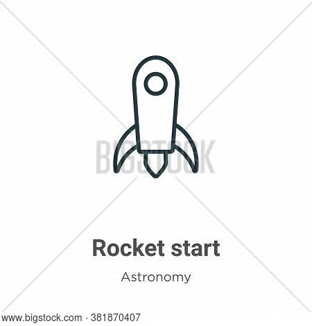 Rocket start icon isolated on white background from astronomy collection. Rocket start icon trendy a