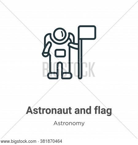 Astronaut and flag icon isolated on white background from astronomy collection. Astronaut and flag i
