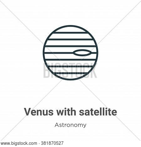 Venus with satellite icon isolated on white background from astronomy collection. Venus with satelli