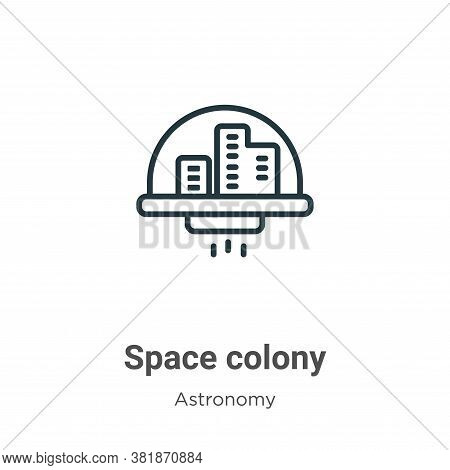 Space colony icon isolated on white background from astronomy collection. Space colony icon trendy a
