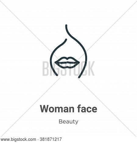 Woman face icon isolated on white background from beauty collection. Woman face icon trendy and mode