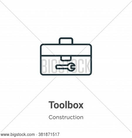 Toolbox icon isolated on white background from construction collection. Toolbox icon trendy and mode