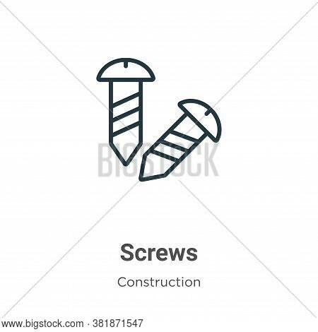 Screws icon isolated on white background from construction collection. Screws icon trendy and modern