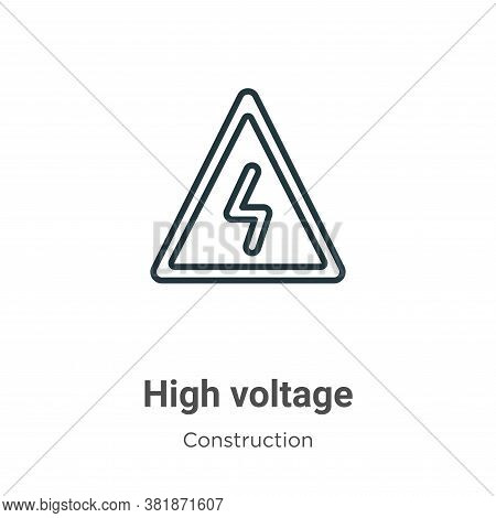 High voltage icon isolated on white background from construction collection. High voltage icon trend