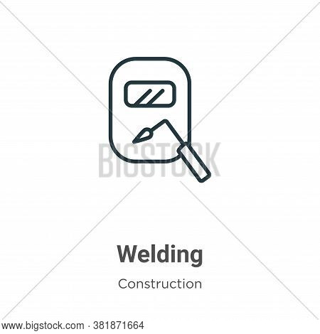 Welding icon isolated on white background from construction collection. Welding icon trendy and mode