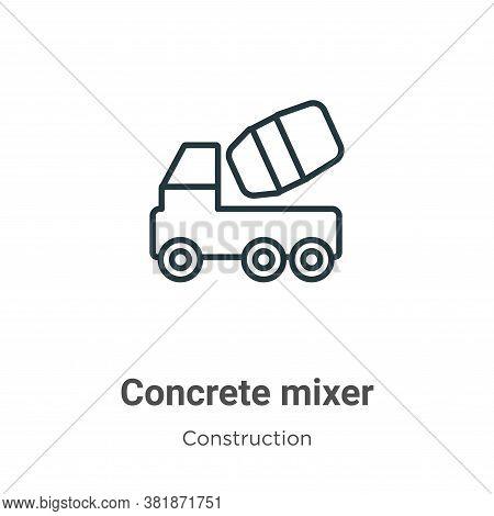 Concrete mixer icon isolated on white background from construction collection. Concrete mixer icon t