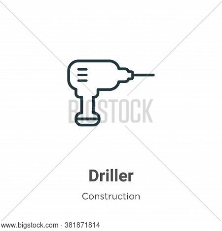 Driller icon isolated on white background from construction collection. Driller icon trendy and mode