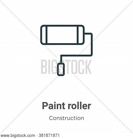 Paint roller icon isolated on white background from construction collection. Paint roller icon trend