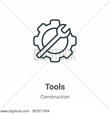 Tools icon isolated on white background from construction collection. Tools icon trendy and modern T