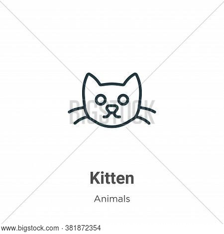 Kitten icon isolated on white background from animals collection. Kitten icon trendy and modern Kitt