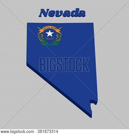 3d Map Outline And Flag Of Nevada, Solid Cobalt Blue Field. The Canton Contains Two Sagebrush Branch