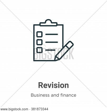 Revision icon isolated on white background from business and finance collection. Revision icon trend