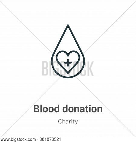 Blood donation icon isolated on white background from charity collection. Blood donation icon trendy