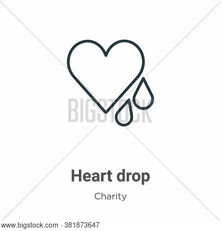 Heart drop icon isolated on white background from charity collection. Heart drop icon trendy and mod