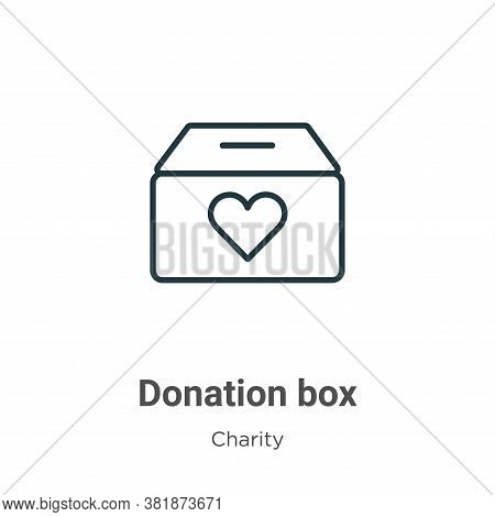 Donation box icon isolated on white background from charity collection. Donation box icon trendy and