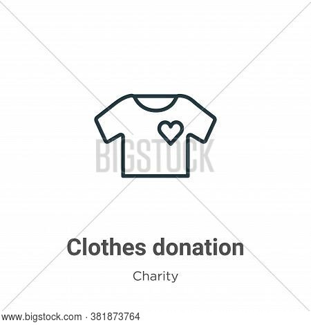 Clothes donation icon isolated on white background from charity collection. Clothes donation icon tr
