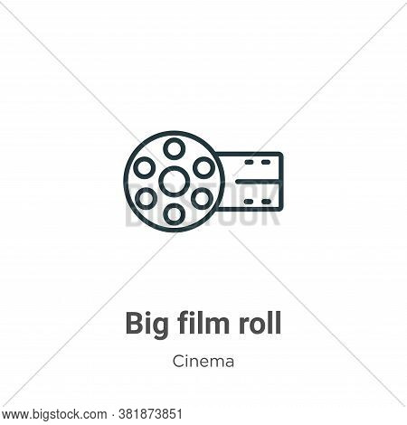 Big film roll icon isolated on white background from cinema collection. Big film roll icon trendy an
