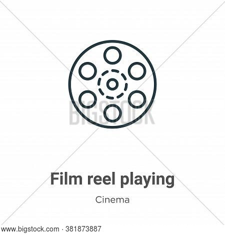 Film reel playing icon isolated on white background from cinema collection. Film reel playing icon t