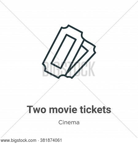 Two movie tickets icon isolated on white background from cinema collection. Two movie tickets icon t