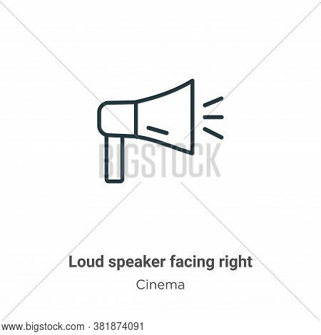Loud speaker facing right icon isolated on white background from cinema collection. Loud speaker fac