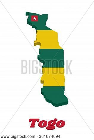 3d Map Outline And Flag Of Togo, Five Equal Horizontal Bands Of Green Alternating With Yellow; With