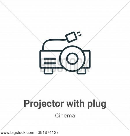 Projector with plug icon isolated on white background from cinema collection. Projector with plug ic