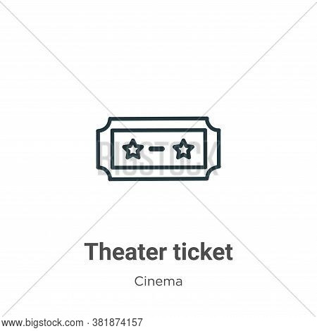 Theater ticket icon isolated on white background from cinema collection. Theater ticket icon trendy