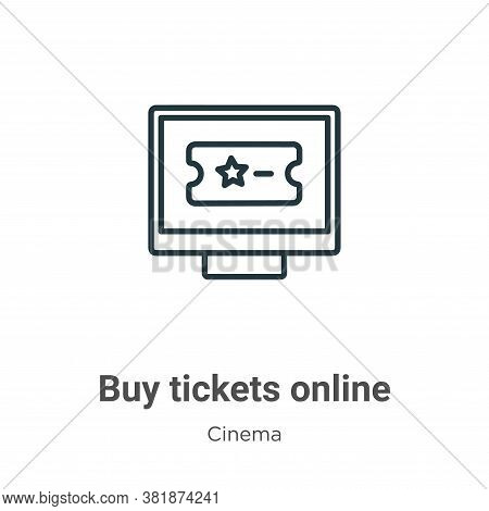Buy tickets online icon isolated on white background from cinema collection. Buy tickets online icon