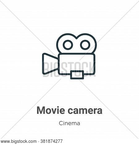 Movie camera icon isolated on white background from cinema collection. Movie camera icon trendy and