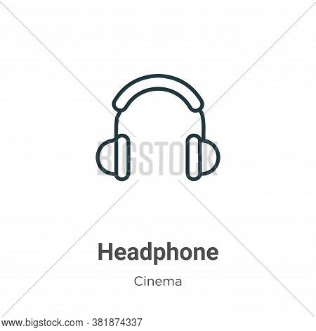 Headphone icon isolated on white background from cinema collection. Headphone icon trendy and modern