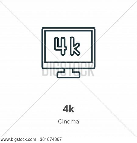 4k icon isolated on white background from cinema collection. 4k icon trendy and modern 4k symbol for